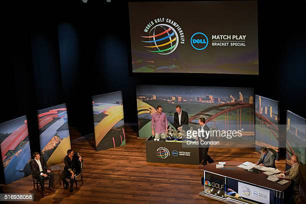Washington Redskins quarterback Colt McCoy pushes the draw button during the live broadcast of the Dell Match Play Bracket Special at the Paramount...