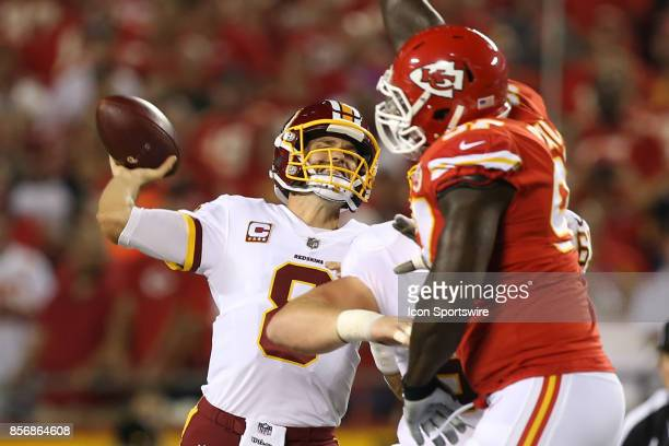 Washington Redskins quarterback Kirk Cousins throws a 44yard touchdown pass to wide receiver Terrelle Pryor early in the first quarter of an NFL game...
