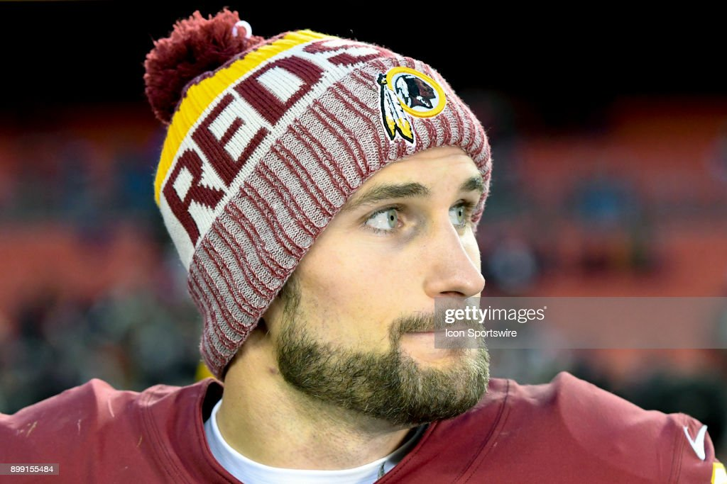 Washington Redskins quarterback Kirk Cousins (8) walks off the field following the game against the Arizona Cardinals on December 17, 2017, at FedEx Field in Landover, MD. The Washington Redskins defeated the Arizona Cardinals, 20-15.