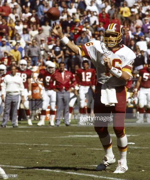 Washington Redskins replacement quarterback Ed Rubbert throws a pass during the Redskins 2821 victory over the St Louis Cardinals on October 4 1987...