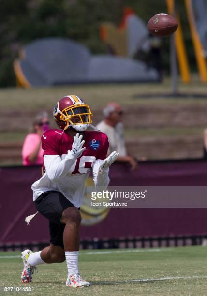 Washington Redskins returner Kendall Fuller receives a kickoff during Redskins training camp practice on August 6 2017 at Bon Secours Training Center...