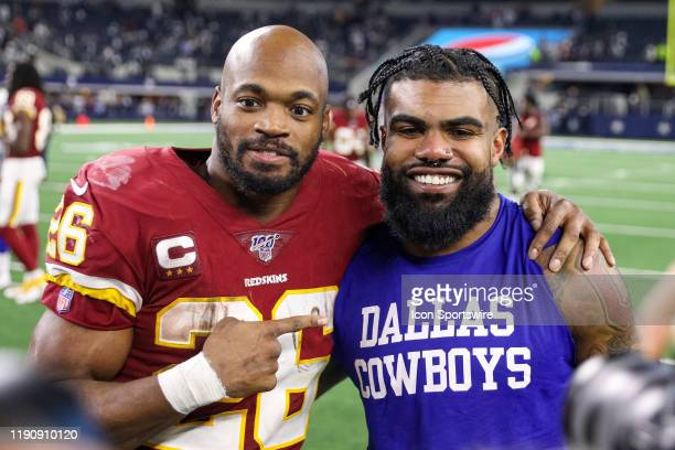 Washington Redskins Running Back Adrian Peterson and Dallas Cowboys Running Back Ezekiel Elliott pose for a picture after the NFC East game between...