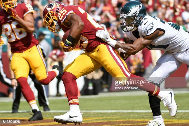Washington Redskins running back Chris Thompson catches a 29yard touchdown pass in the second quarter and scores against Philadelphia Eagles...