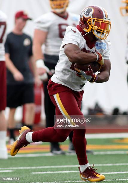 Washington Redskins running back Chris Thompson in action during an OTA practice session on June 07 at Inova Sports Performance Center at Redskins...