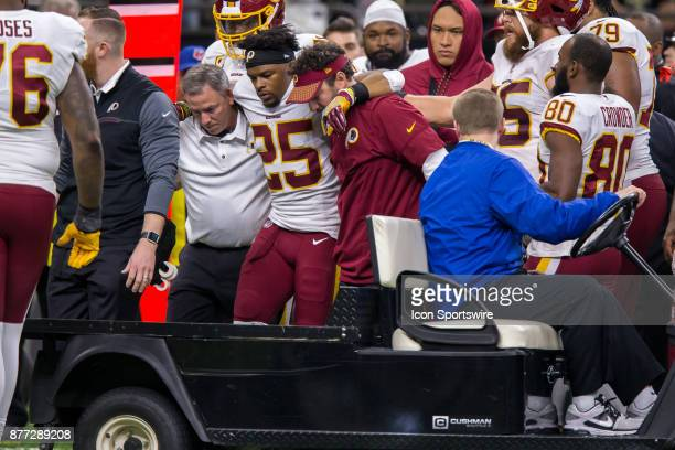 Washington Redskins running back Chris Thompson is injured and has to be carted off against New Orleans Saints on November 19 2017 at the...