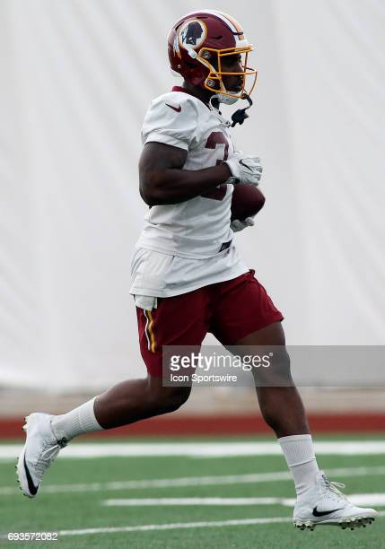 Washington Redskins running back Mack Brown in action during an OTA practice session on June 07 at Inova Sports Performance Center at Redskins Park...