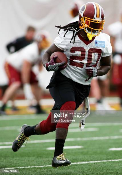 Washington Redskins running back Robert Kelley during an OTA practice session on May 31 at Inova Sports Performance Center at Redskins Park in...