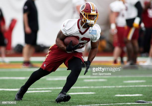 Washington Redskins running back Samaje Perine in action during an OTA practice session on May 31 at Inova Sports Performance Center at Redskins Park...