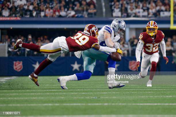 Washington Redskins Safety Jeremy Reaves blocks a pass intended for Dallas Cowboys Tight End Blake Jarwin during the NFC East game between the Dallas...