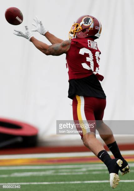 Washington Redskins safety Josh Evans in action during an OTA practice session on June 07 at Inova Sports Performance Center at Redskins Park in...