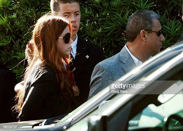 Washington Redskins safety Sean Taylor's longtime girlfriend Jackie Garcia leaves his funeral services at Pharmed Arena on December 3 2007 in Miami...