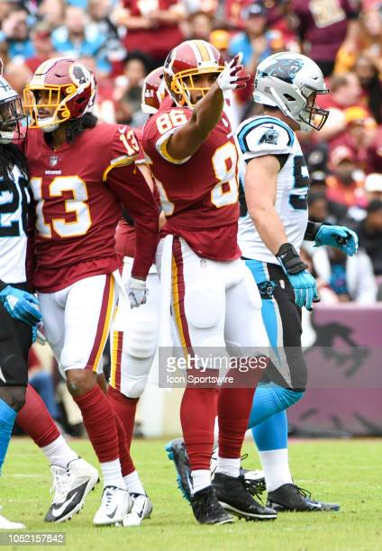 Washington Redskins tight end Jordan Reed signals a first down after making a reception against the Carolina Panthers on October 14 at FedEx Field in...