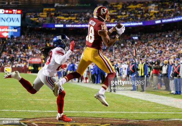 Washington Redskins wide receiver Josh Doctson beats New York Giants cornerback Janoris Jenkins to the pass to go in for the Redskins go ahead...
