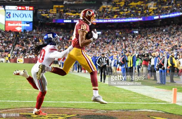 Washington Redskins wide receiver Josh Doctson hauls in a touchdown reception from quarterback Kirk Cousins against New York Giants cornerback...