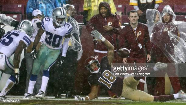 Washington Redskins wide receiver Josh Doctson wanted a pass interference call but did not get it as Dallas Cowboys safety Xavier Woods and...
