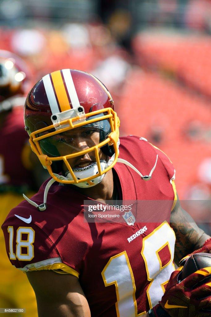 Washington Redskins wide receiver Josh Doctson (18) warms up on September 10, 2017, at FedEx Field in Landover, MD.