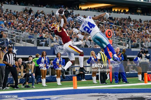 Washington Redskins Wide Receiver Kelvin Harmon makes a catch over Dallas Cowboys Cornerback Chidobe Awuzie but is ruled out of bounds during the NFC...