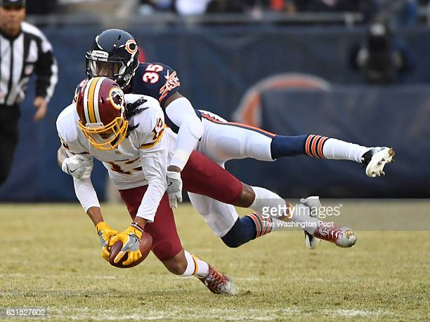 Washington Redskins wide receiver Maurice Harris can't hang on to the ball as Chicago Bears cornerback Johnthan Banks breaks up the pass play during...