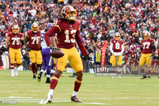 Washington Redskins wide receiver Maurice Harris celebrates his first quartertouchdown catch against the Minnesota Vikings on November 12 at FedEx...