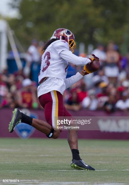Washington Redskins wide receiver Maurice Harris hauls in a catch during Redskins training camp practice on August 5 2017 at Bon Secours Training...