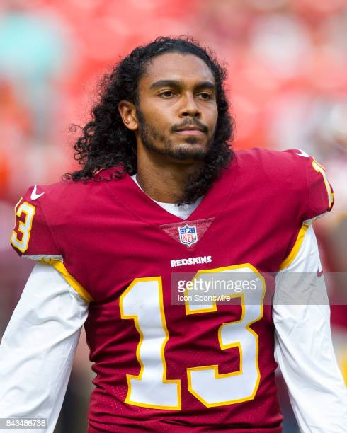 Washington Redskins wide receiver Maurice Harris looks on during the NFL preseason game between the Cincinnati Bengals and the Washington Redskins on...