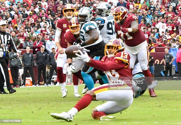 Washington Redskins wide receiver Maurice Harris makes a juggling pass reception against the Carolina Panthers on October 14 at FedEx Field in...