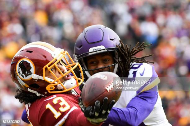 Washington Redskins wide receiver Maurice Harris makes a one handed grab of a first quarter touchdown pass against Minnesota Vikings cornerback Trae...