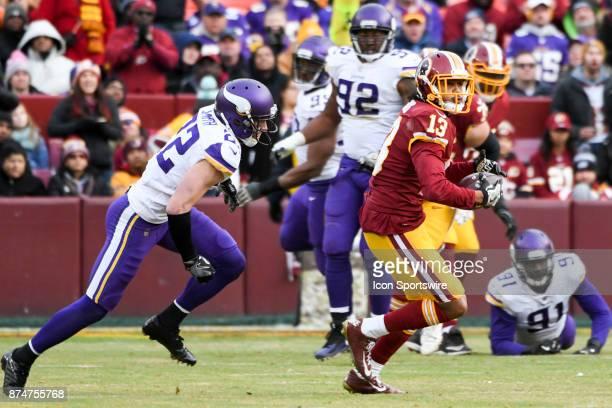 Washington Redskins wide receiver Maurice Harris makes a third quarter reception against Minnesota Vikings free safety Harrison Smith on November 12...