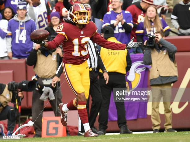 Washington Redskins wide receiver Maurice Harris reacts after catching a touchdown pass in the first quarter of the game between the Washington...