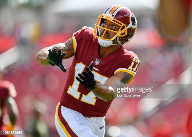 Washington Redskins wide receiver Michael Floyd warms up prior to the first half of an NFL game between the Washington Redskins and the Tampa Bay...