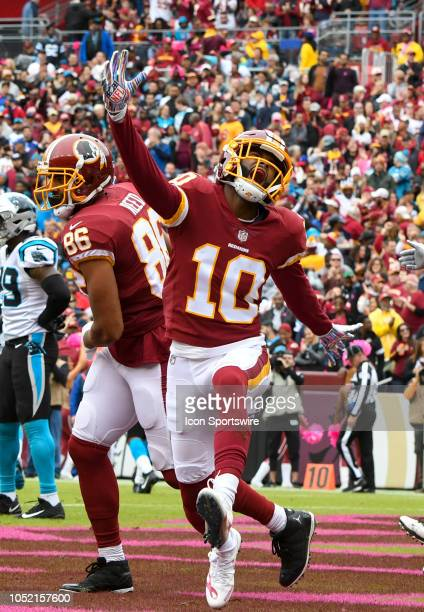 Washington Redskins wide receiver Paul Richardson celebrates is touchdown reception against the Carolina Panthers on October 14 at FedEx Field in...