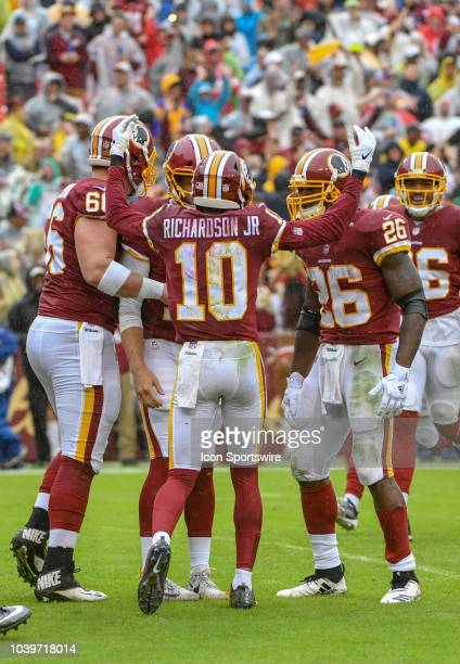 Washington Redskins wide receiver Paul Richardson his first quarter touchdown with running back Adrian Peterson and center Tony Bergstrom on...