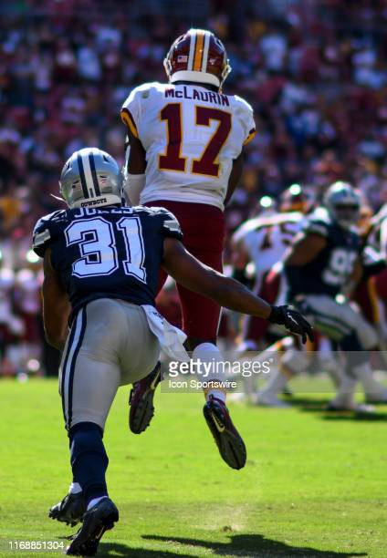 Washington Redskins wide receiver Terry McLaurin makes a reception against Dallas Cowboys cornerback Byron Jones on September 15 at FedEx Field in...