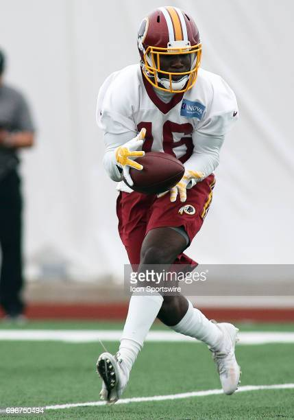 Washington Redskins wide receiver Zach Pascal in action during an OTA practice session on May 31 at Inova Sports Performance Center at Redskins Park...