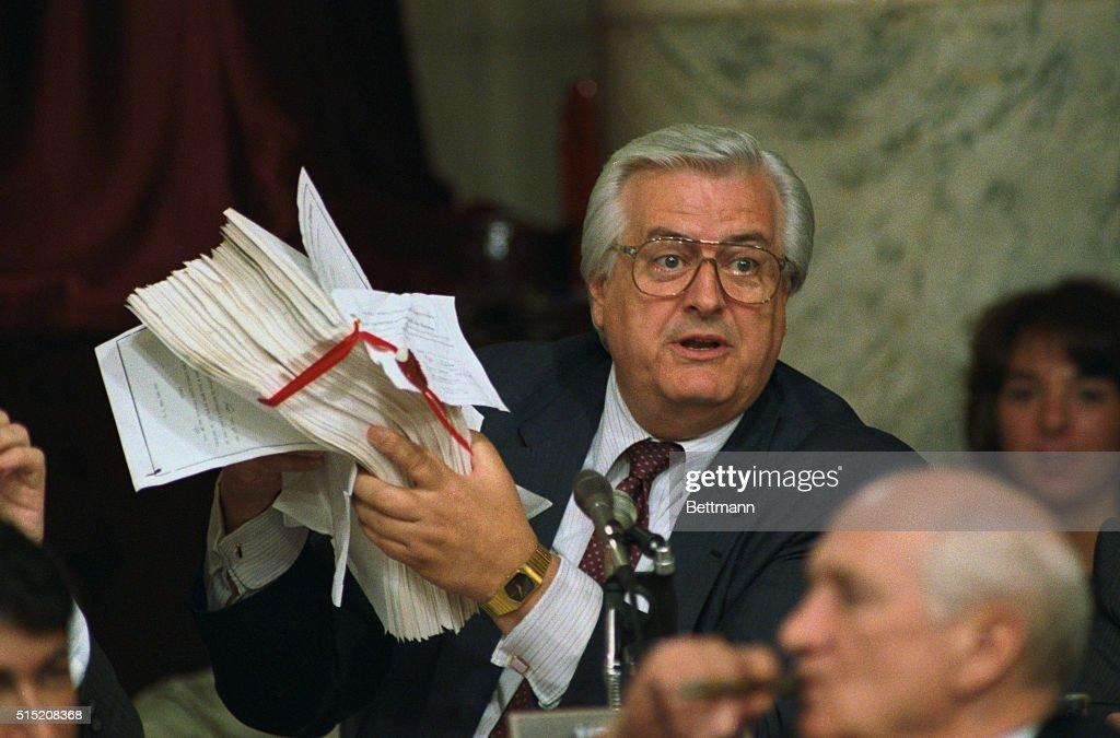Henry Hyde Holding Copy of Bill : News Photo