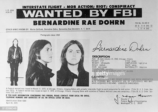 Washington: Replacing one woman with another, the FBI, October 14, added to its 10 Most Wanted list of fugitives, Bernardine Rae Dohrn, , a...
