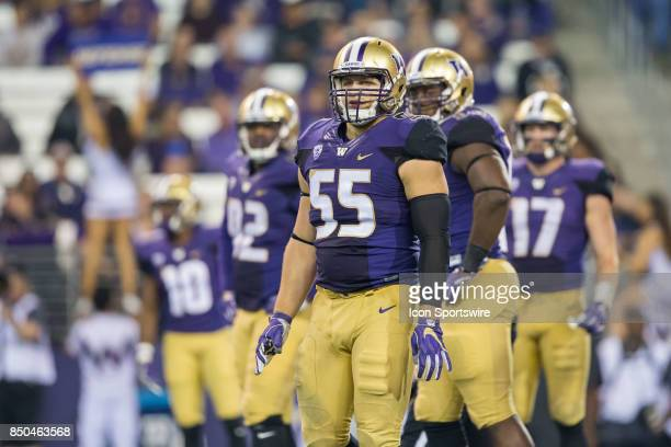 Washington Ryan Bowman looks to the sidelines for the play call during a college football game between the Washington Huskies and the Fresno State...