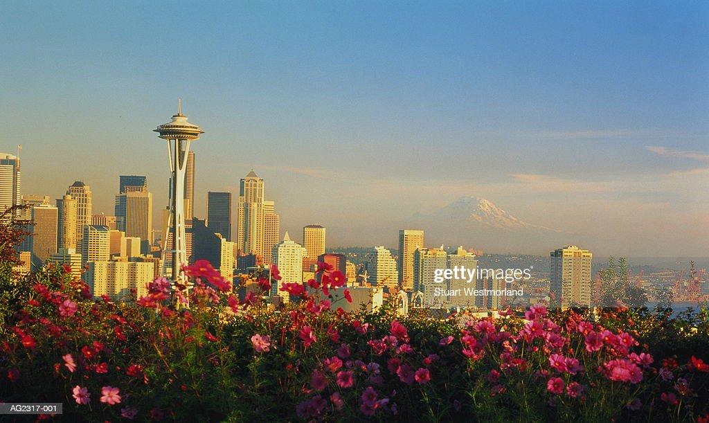 USA, Washington, Seattle, city skyline, flowers in foreground : Stock-Foto
