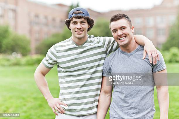 USA, Washington, Seattle, Portrait of two men on campus