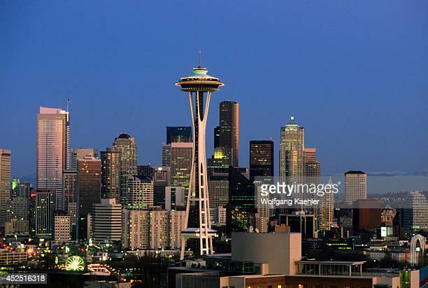 USA Washington Seattle Skyline At Night