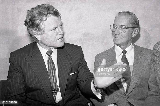 Sen Edward Kennedy and former CIA Director William Colby address a 3/14 news conference on the nuclear freeze issue Kennedy said I believe this is...