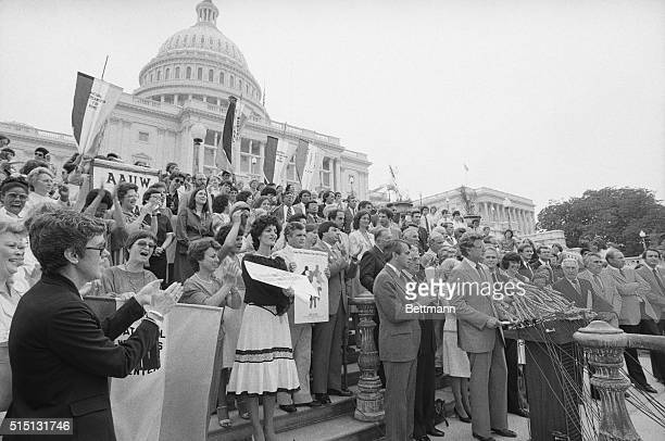 Sen Edward Kennedy DMass appears outside Capitol during a rally 7/14 after the Equal Rights Amendment was introduced by the House after failing to...