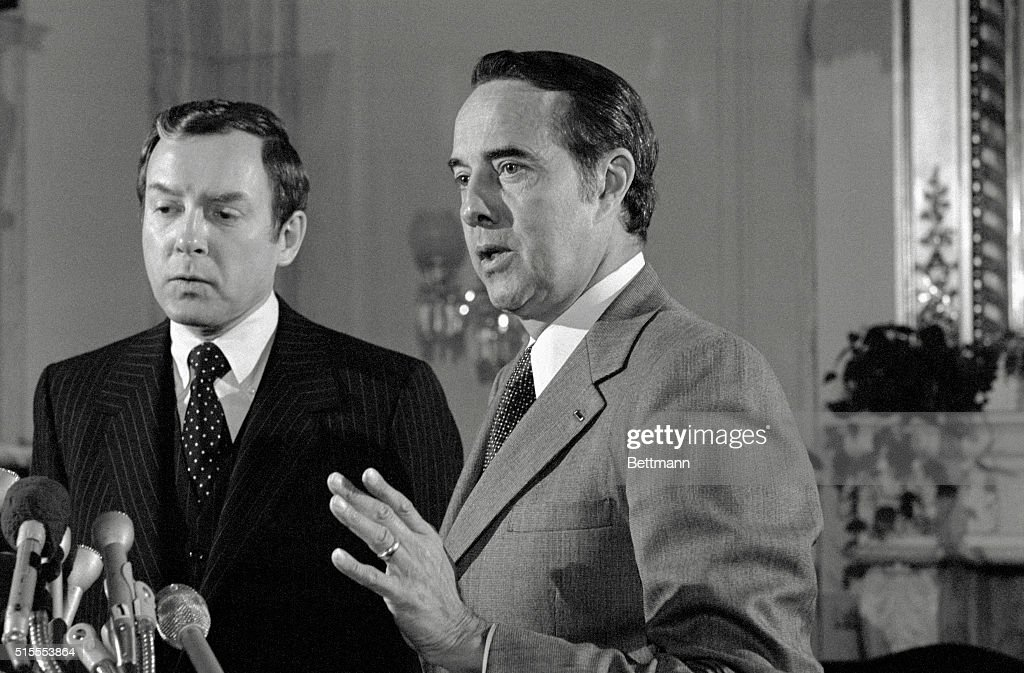 Sena. Orrin Hatch, R-Utah, left and Bob Dole, R-Kans, tells a news conference the United States could have accomplished diplomatic relations with Peking while not abandoning Taiwan. Nationalist Chinese Amb. James Shen was supposed to have been at the news conference, but according to Dole he was 'told not to be here.'