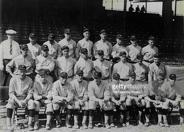 Washington Senators team photo first row Zachary Hargraves Martina Judge Johnson Harris Rice McNeeley Goslin 2nd row Schalk Miller Bluege Russell...