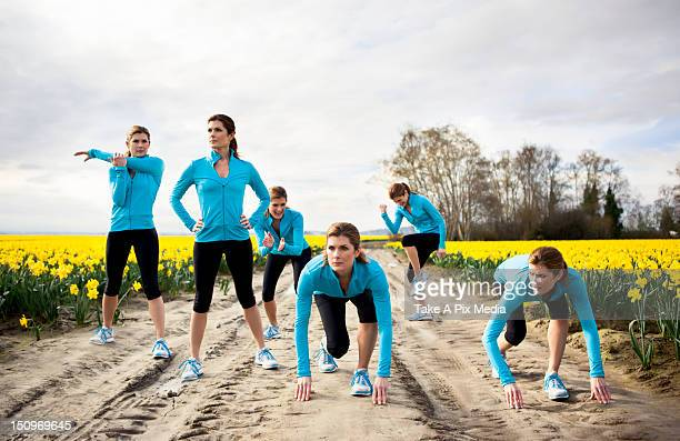 usa, washington, skagit valley, woman exercising in rural area - repetition stock pictures, royalty-free photos & images