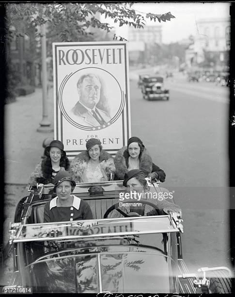 Washington Society Girls Campaign for Roosevelt Photo shows Elizabeth Wheeler daughter of Senator Wheeler Mont Louise Falligant Lyda Mae Francis...