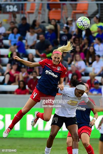 Washington Spirit defender Megan Oyster and WNY Flash forward Jessica McDonald fight for a header during the 2016 NWSL Championship soccer match...