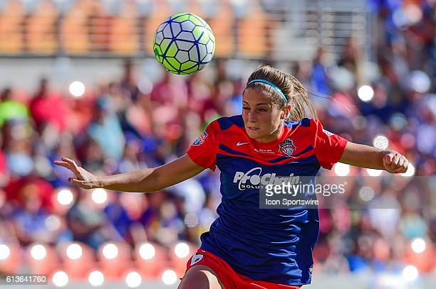 Washington Spirit defender Shelina Zadorsky hits a header during first half action during the 2016 NWSL Championship soccer match between WNY Flash...