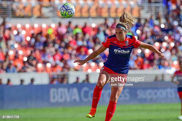 Washington Spirit defender Shelina Zadorsky watches her header during the 2016 NWSL Championship soccer match between WNY Flash and Washington Spirit...