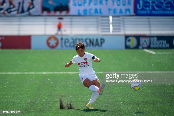 Washington Spirit forward Kumi Yokoyama kicks the ball during a game between Washington Spirit and Sky Blue FC at MSU Soccer Park at Pittser Field on...